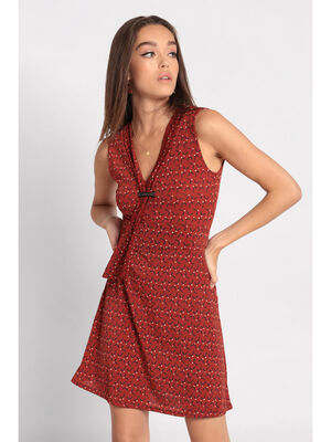 Robe patineuse effet cravate rouge clair femme