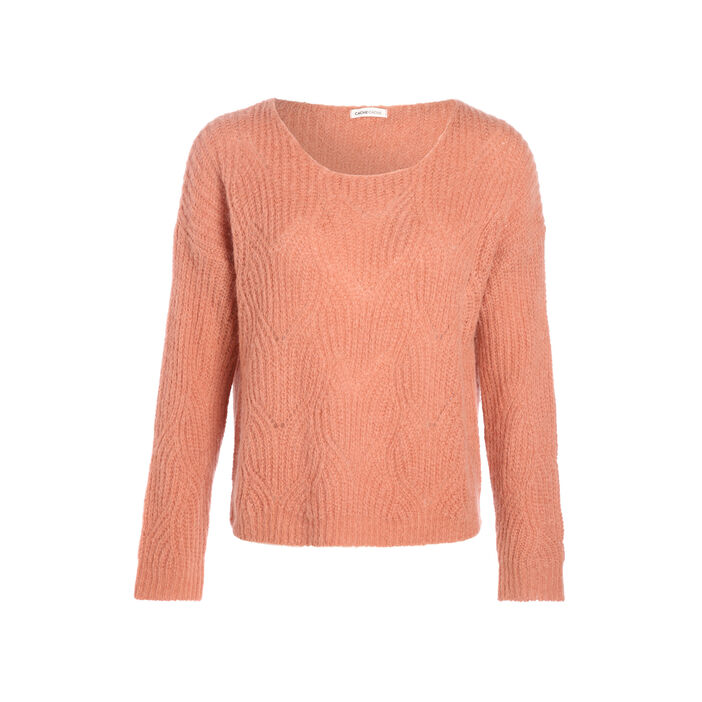 Pull ajouré col rond rose clair femme