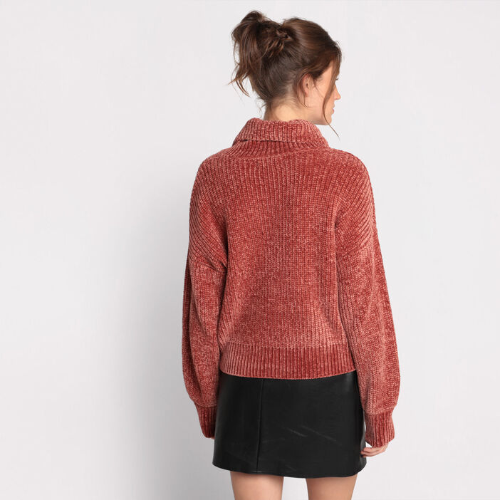 Pull manches longues col roulé terracotta femme