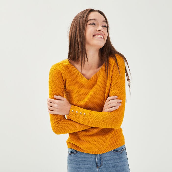 Pull col rond bateau jaune or femme