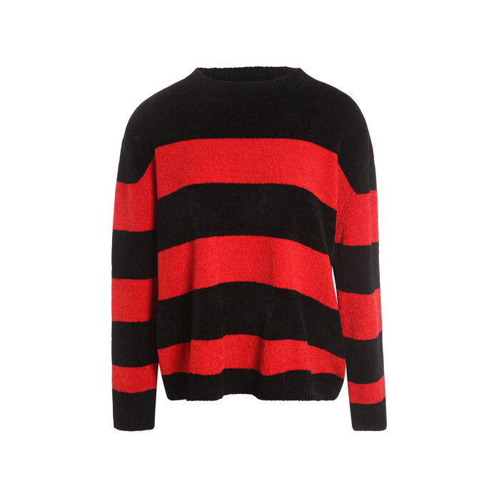 Pull manches longues ample rouge femme