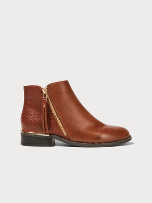Bottines plates zippees marron femme