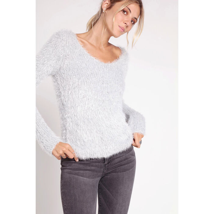 d0246be496c Pull shaggy manches longues col V gris clair femme femme