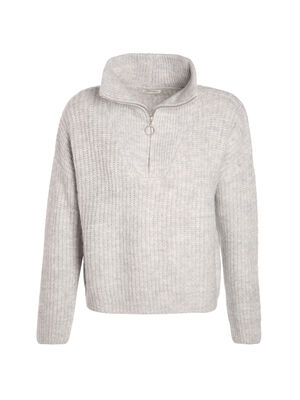 Pull manches longues zippe gris clair femme