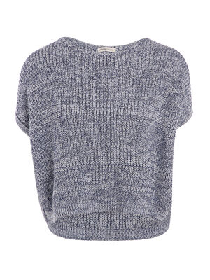 Pull manches courtes cropped parme femme