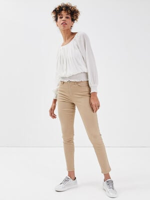 Jeans skinny push up beige femme