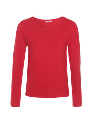Pull maille ottomane boutons epaules rouge femme
