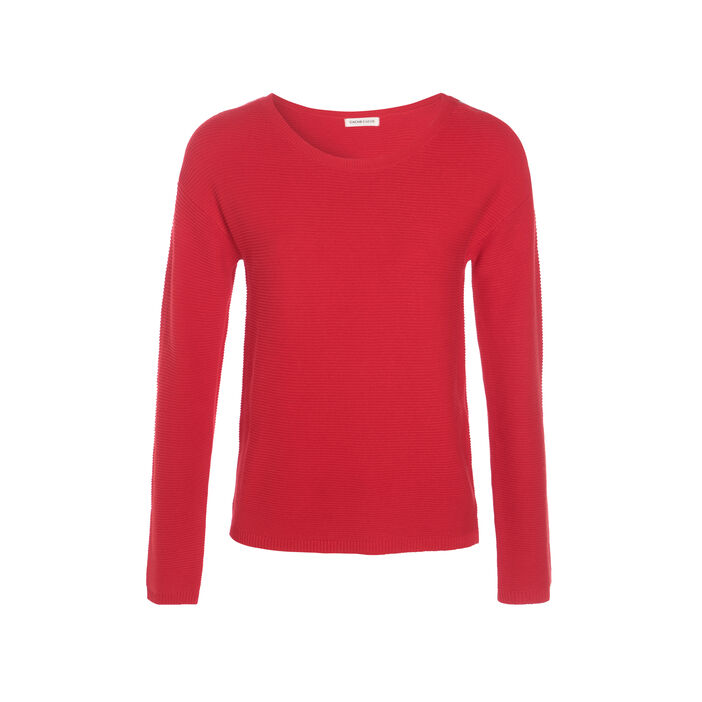 Pull maille ottomane boutons épaules rouge femme