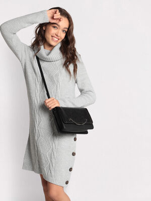 Robe pull droite col roule gris clair femme