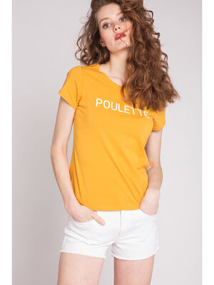 T shirt message poulette jaune or femme