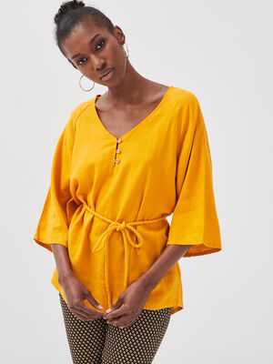 Blouse manches 34 lin jaune or femme