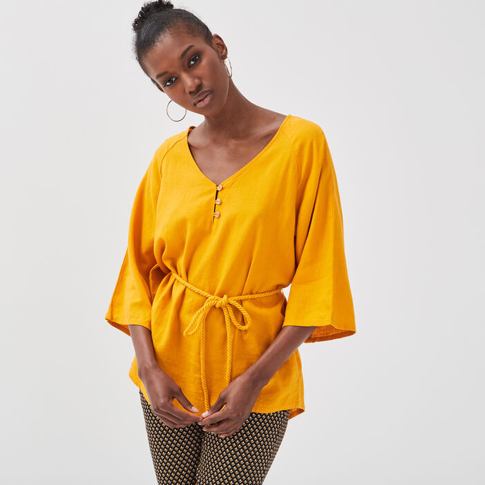 Blouse manches 3/4 lin jaune or femme