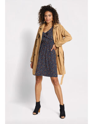 Trench a capuche amovible beige femme