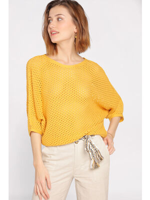Pull manches 34 maille ajouree jaune femme