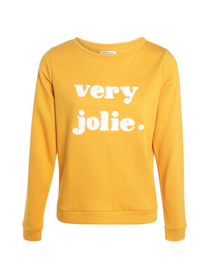 Sweat a message jaune moutarde femme