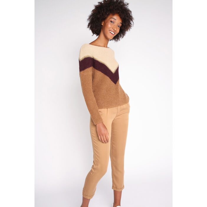 Pull manches longues colorblock beige femme