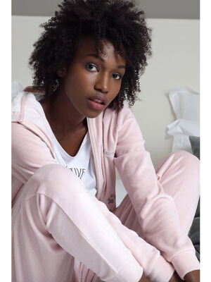 Sweat zippe en velours a capuche rose clair femme