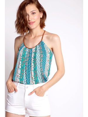 Top imprime rayures ethniques vert turquoise femme