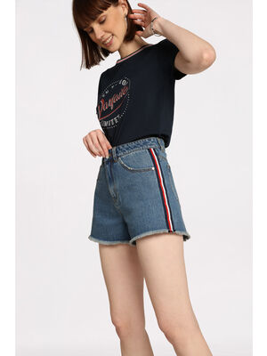 Mini short en jean a franges denim stone femme