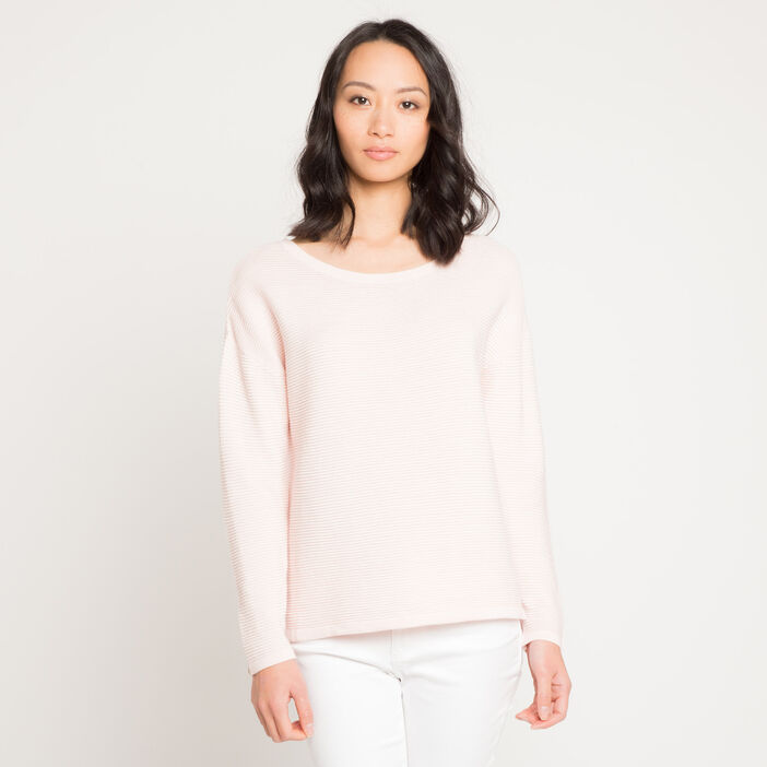 Pull maille fantaisie rose clair femme