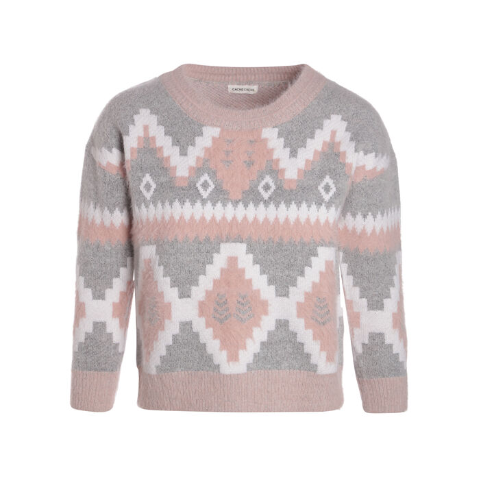 Pull manches longues shaggy gris clair femme