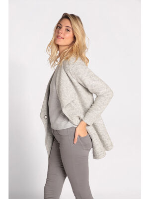Manteau leger mi long lainage gris clair femme