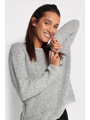 Pull reversible a boutons gris clair femme