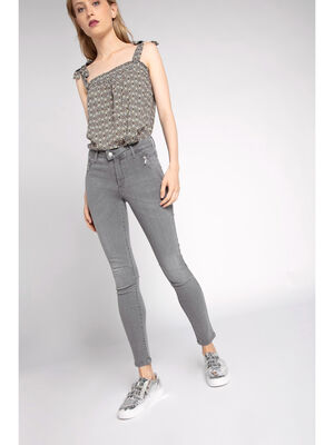 Jean skinny denim stretch esprit motard denim gris femme