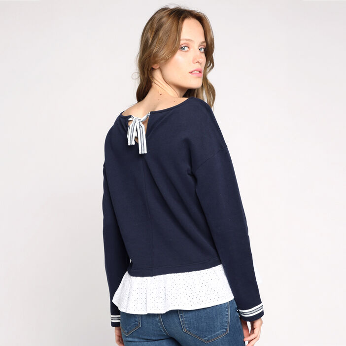 Sweat manches longues broderie anglaise bleu marine femme