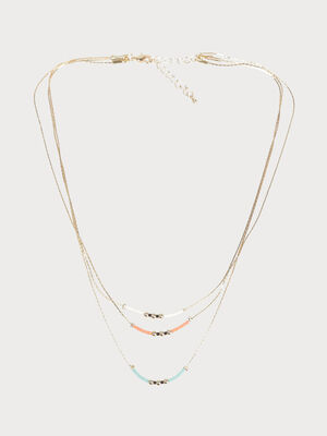 Collier multi rang couleur or femme