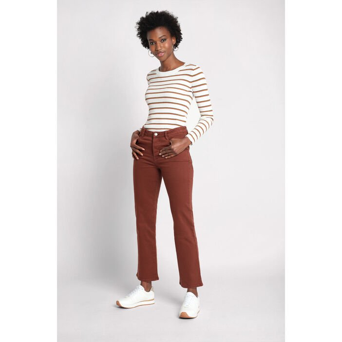 Pantalon regular à poches marron cognac femme