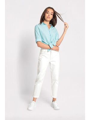 Jeans mom coutures contrastees ecru femme