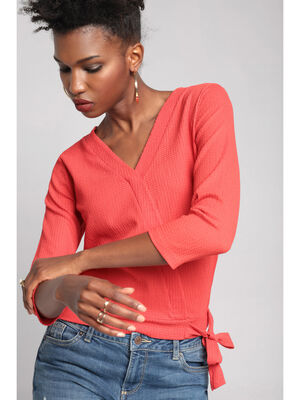 T shirt manches 34 rouge femme
