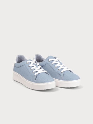 Baskets basses plates jean denim bleach femme