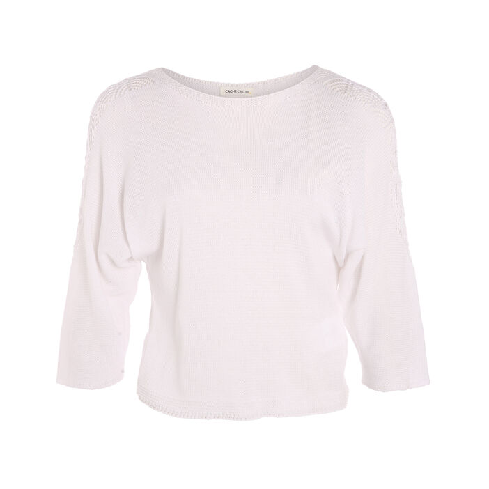 Pull manches 3/4 col rond blanc femme