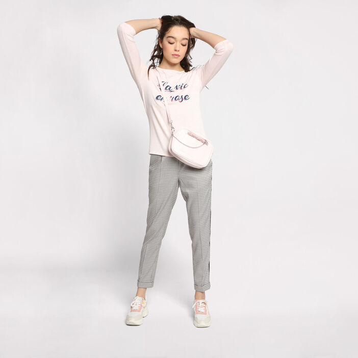 T-shirt manches 3/4 col rond rose clair femme