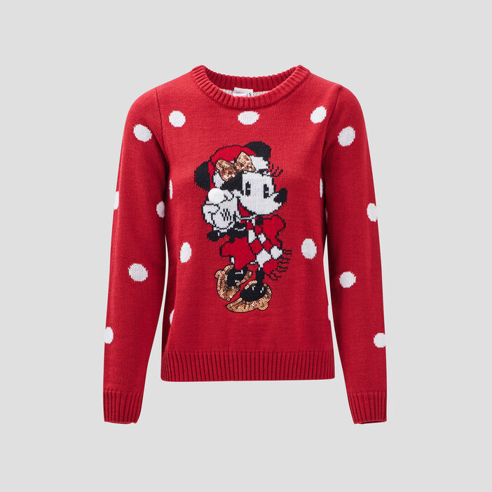Pull avec col rond Minnie rouge femme
