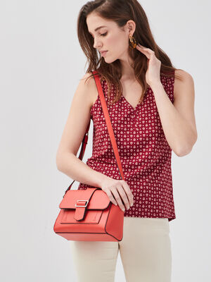 Sac cartable bandouliere rouge corail femme