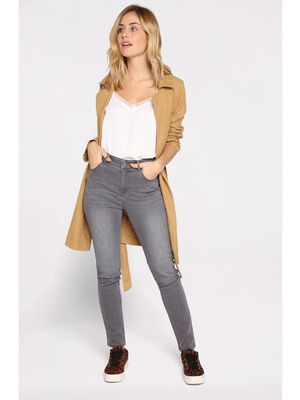 Jeans slim effet use denim gris femme