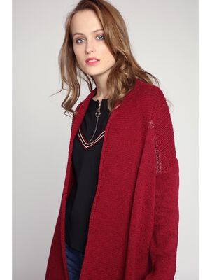 Gilet manches longues maille rouge fonce femme