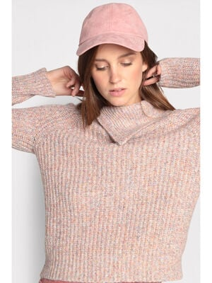 Pull col a revers zippe rose clair femme