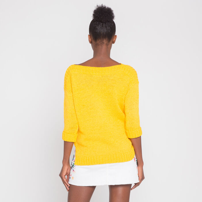 Pull manches 3/4 jaune or femme