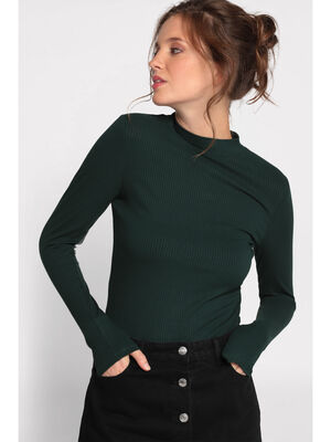 T shirt maille cotelee vert fonce femme