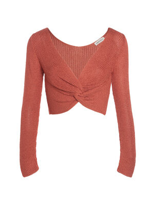 Pull manches longues crop top rose corail femme