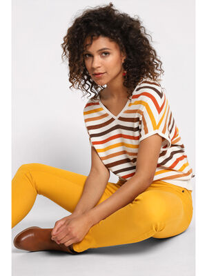Pull dos decollete jaune moutarde femme