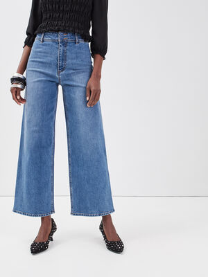 Jeans wide leg denim double stone femme