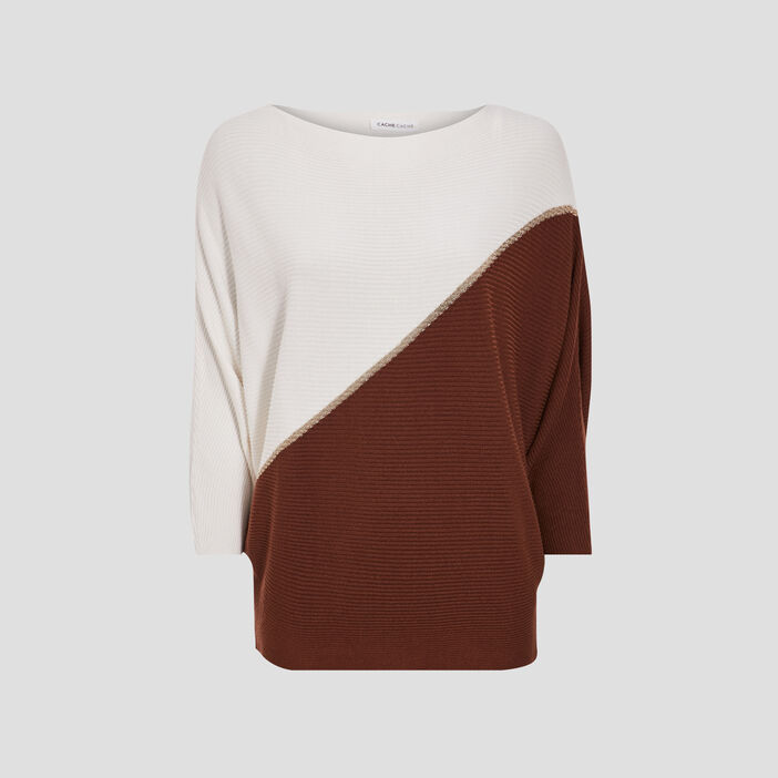 Pull manches 3/4 marron femme
