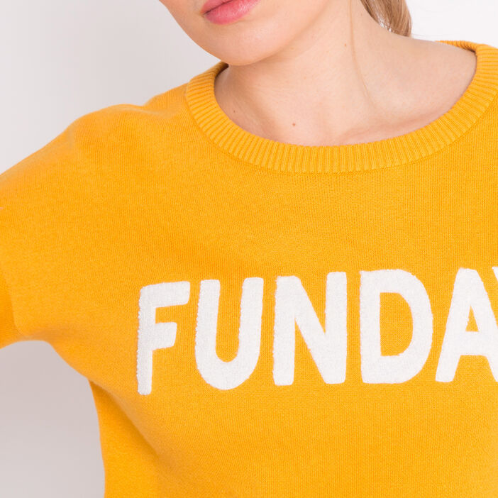 Pull message col rond jaune or femme
