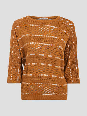 Pull manches 34 ajoure marron femme