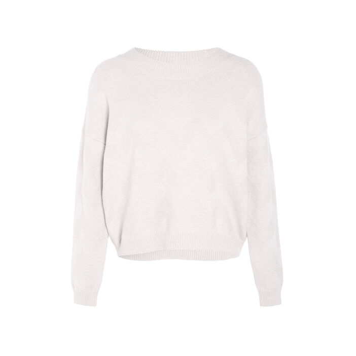 Pull ample col rond beige femme